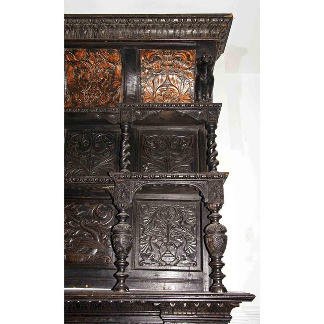 Metal Late 19th Century German Renaissance Style Carved Chestnut Mantel For Sale - Image 7 of 11