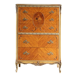1930s French Provincial Highboy Dresser For Sale