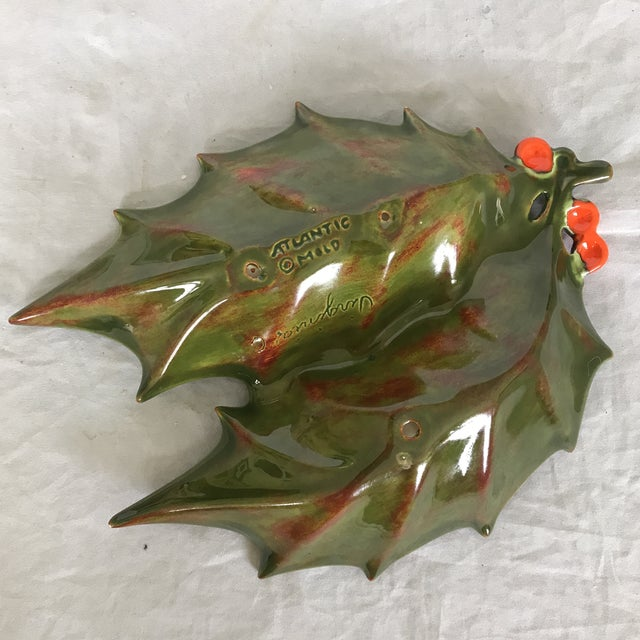 Americana 1960's Glazed Ceramic Holly Leaf Candy Dish For Sale - Image 3 of 4