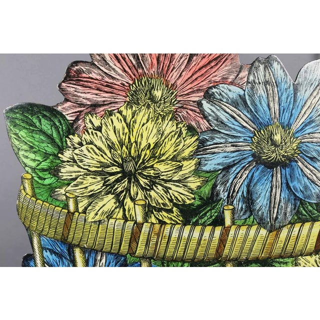 Faux painted depicting a basket of flowers.