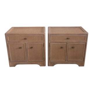 1990s Vintage Ficks Reed Nightstands- A Pair For Sale