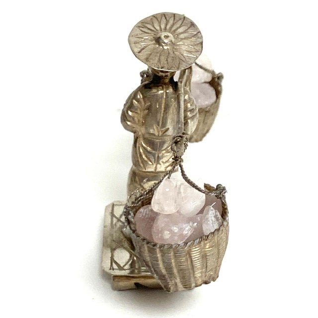 Chinese Export Sterling Figures of Labourers Carrying Rose Quartz - a Pair For Sale - Image 12 of 13