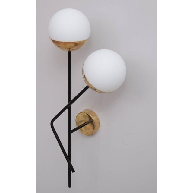 Modern One of Six Brass and Glass Wall Lights or Sconces Attributed to Stilnovo For Sale - Image 3 of 5
