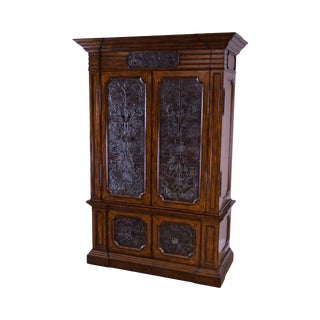Maitland Smith Monumental Mahogany Armoire With Bronze Doors For Sale