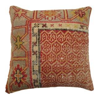 Vintage Turkish Oushak Orange Peel Rug Pillow