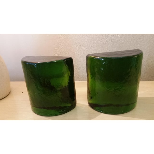 Art Glass Blenko Art Glass Forest Green Bookends - A Pair For Sale - Image 7 of 7