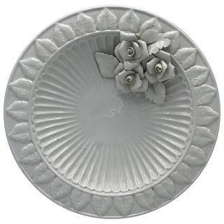 1970s Italian Ceramic Plate With Floral Motif Sculpture For Sale