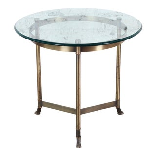 Labarge Mid-Century Hollywood Regency Brass and Glass Hooved Feet Side Table For Sale