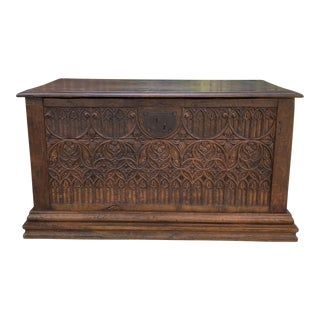 18th Century Antique French Gothic Coffer Trunk For Sale