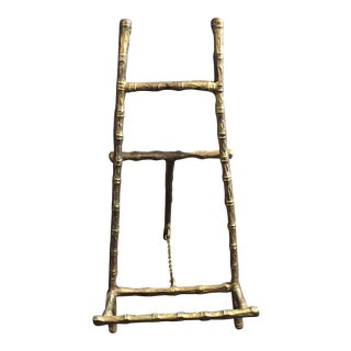 Vintage Mid Century Faux Bamboo Brass Easel For Sale