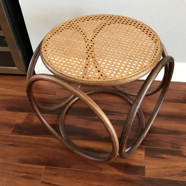 Vintage Bentwood and Cane Ottoman - Image 3 of 5