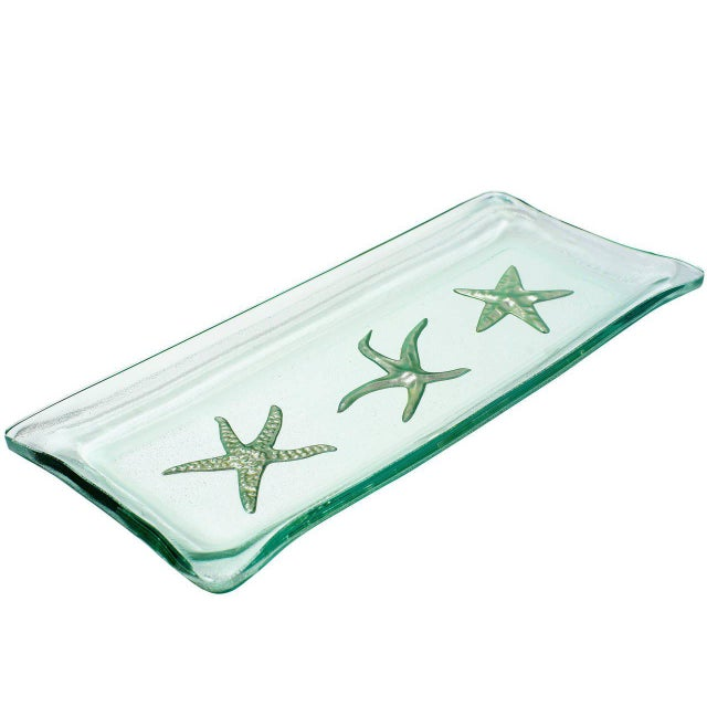 Contemporary Kiln-Formed Art Glass Tray with White Gold Starfish For Sale - Image 3 of 4