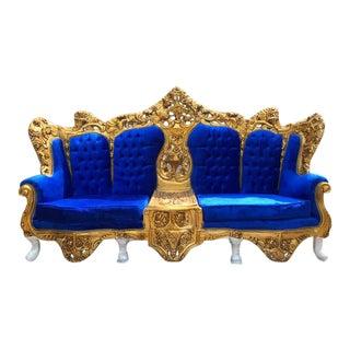 Rococo / Baroque Style Royal Blue Velvet Sofa Settee