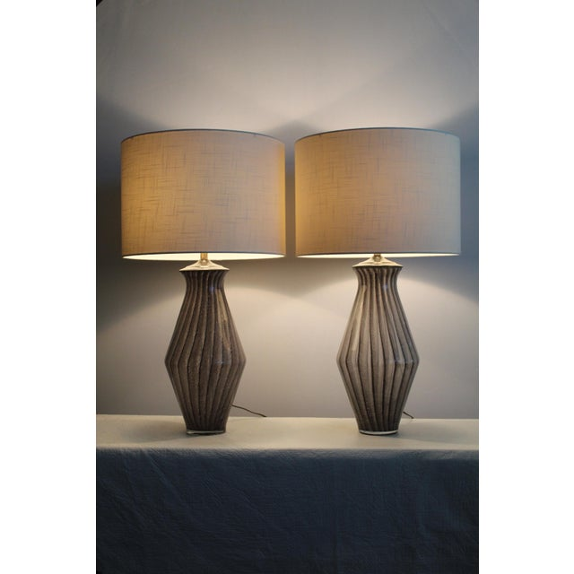 Vintage Modern Tapered Striped Murano Table Lamps - a Pair For Sale - Image 4 of 10