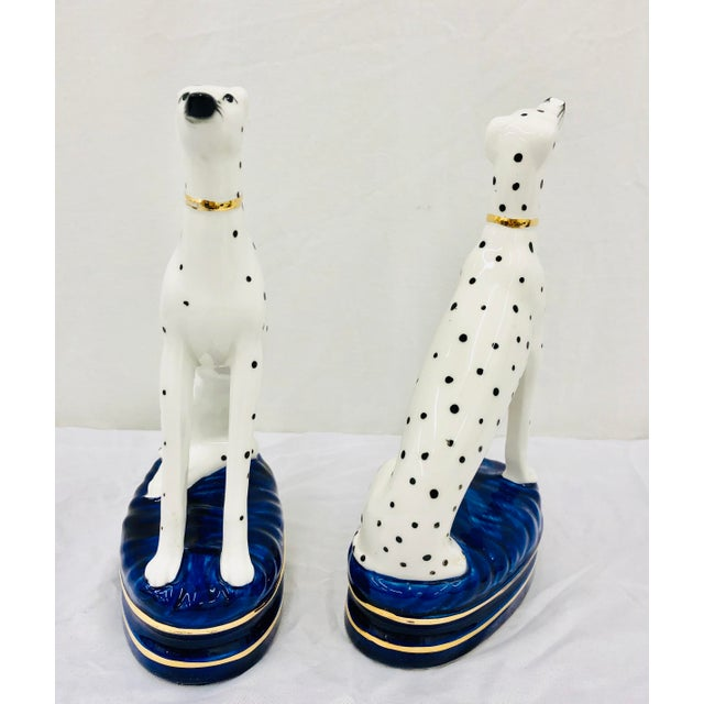 Pair Painted Porcelain Dog Sculptures For Sale - Image 10 of 10