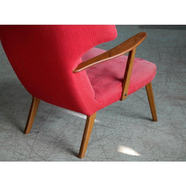 Red Danish 1950's Madsen and Schubell High Back Lounge Chair in Teak and Oak For Sale - Image 8 of 11