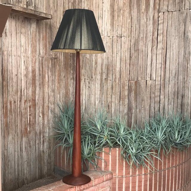 1960s Vintage Danish Modern Teak Floor Lamp With Period Black String Shade For Sale - Image 5 of 13