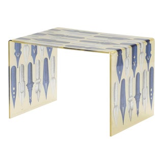 Piero Fornasetti Style Acrylic Coffee Table For Sale