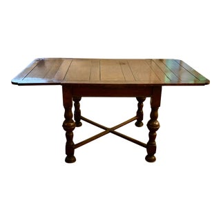 Vintage Square Extendable Table With X Trestle For Sale
