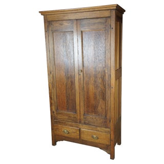 19th Century Antique Oak Armoire For Sale