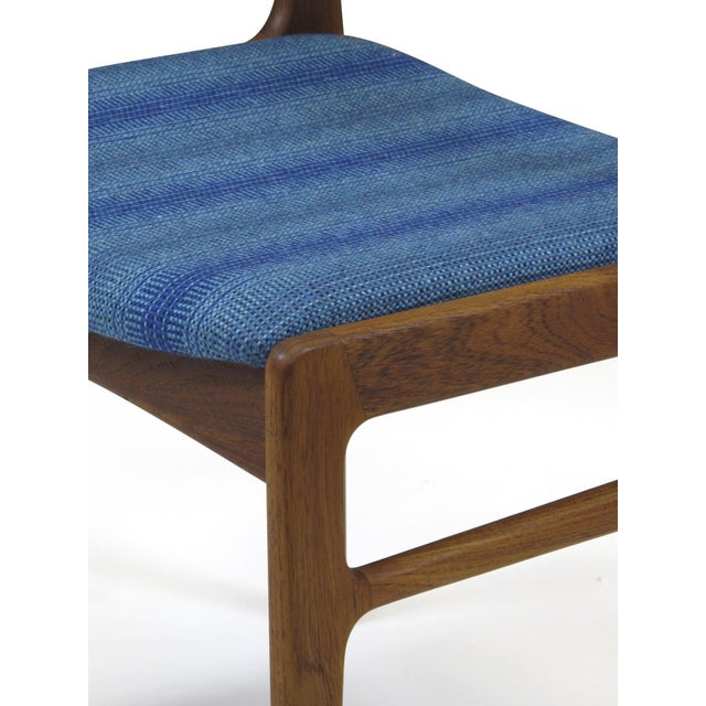 Sculpting Funder-Schmidt and Madsen Teak Dining Chairs in Blue Wool - Set of 6 For Sale - Image 7 of 11