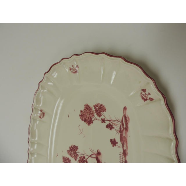 French Provincial Vintage Pierre Deux French Country Oval Toile Scene Pink Serving Platter For Sale - Image 3 of 7