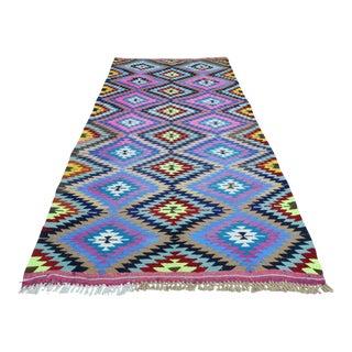 Anatolian Turkish Kiliim Multicolor Rug-4′10″ × 9′1″ For Sale