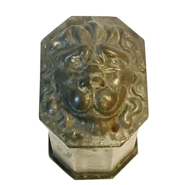 Metal Vintage Lion's Head Box For Sale - Image 7 of 7