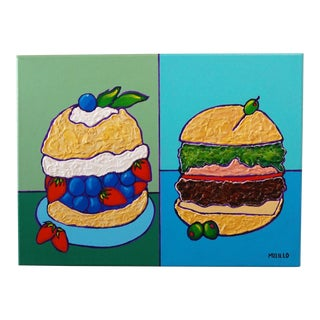 Pop Art Series American Hamburger Painting by Tom Melillo For Sale