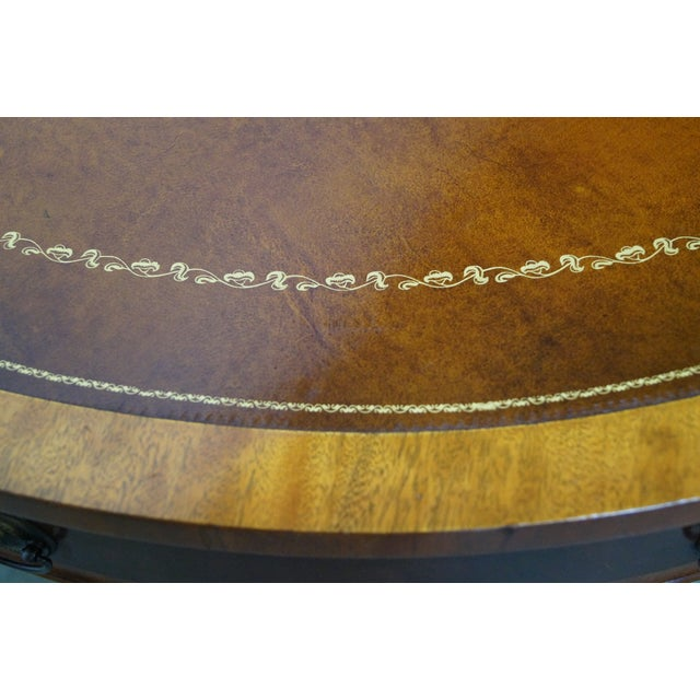 Mahogany Inlaid Leather Top Round Federal Style Coffee Table - Image 10 of 10