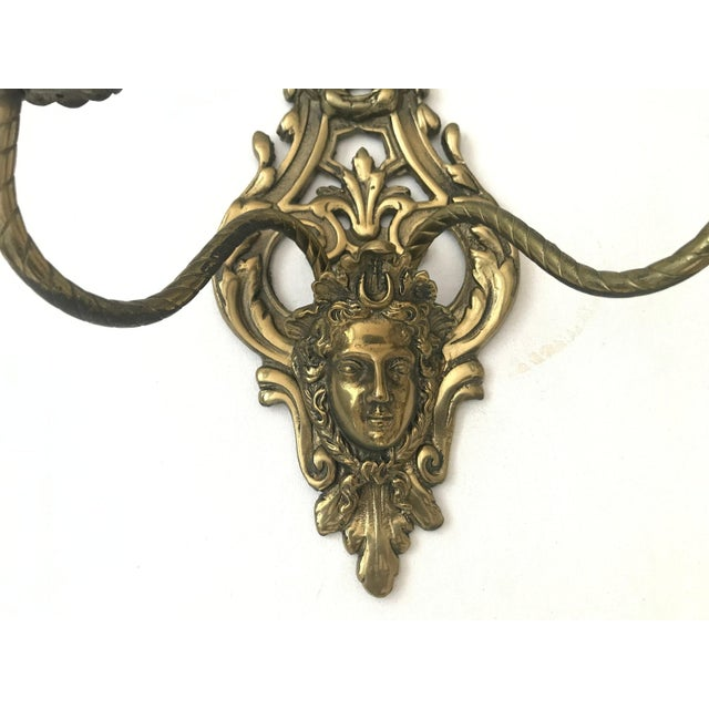 Versace 1950s Vintage Louis IV Versace Style Brass Candle Holders Sconces - a Pair For Sale - Image 4 of 11
