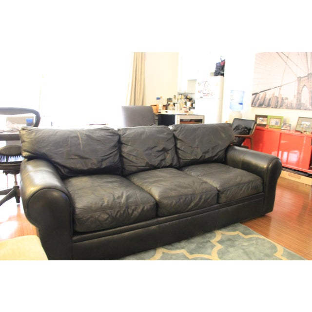 Contemporary Maurice Villency Down Filled Black Leather Sofa For Sale - Image 3 of 11