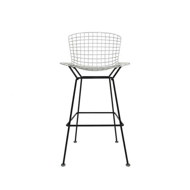 White Vintage Harry Bertoia Bar Stools Black and White For Sale - Image 8 of 9
