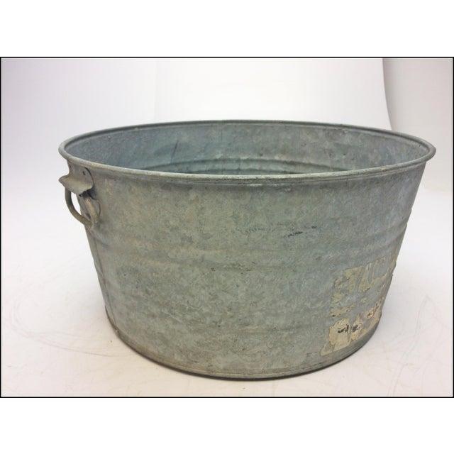 Vintage Country Galvanized Round Metal Wash Tub Chairish