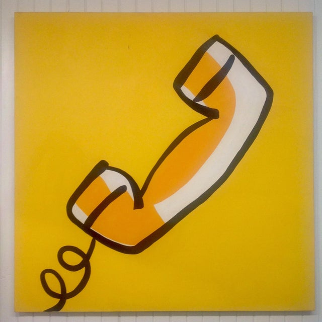 """Signed pop art telephone acrylic/canvas painting. Huge 48"""" x 48"""" painting, signed as pictured. We ALWAYS accept reasonable..."""