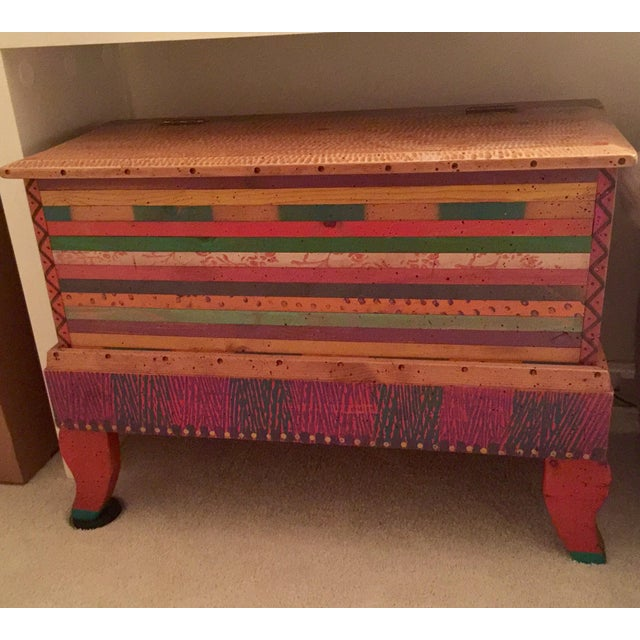 Bohemian Chic Wooden Trunk - Image 2 of 3