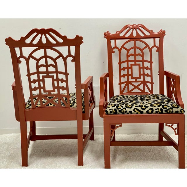 Mid 20th Century Mid 20th Century Chinoiserie Pagoda Arm Chairs in Leopard - a Pair For Sale - Image 5 of 7