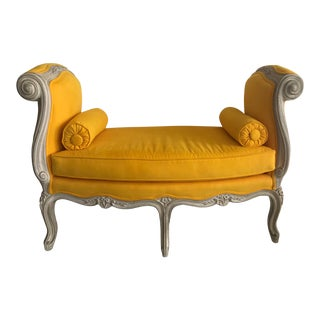 1900s Canary Yellow French Settee For Sale
