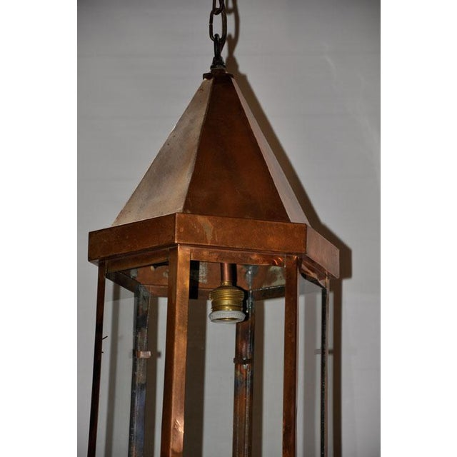 1930s Copper Hanging Lantern For Sale - Image 5 of 6