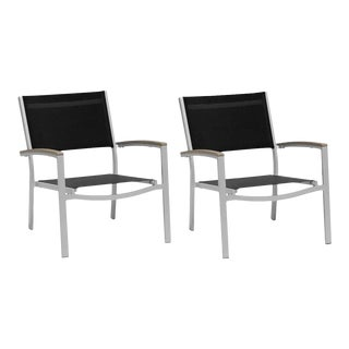 Outdoor Sling Lounge Chair, Vintage and Black (Set of 2) For Sale