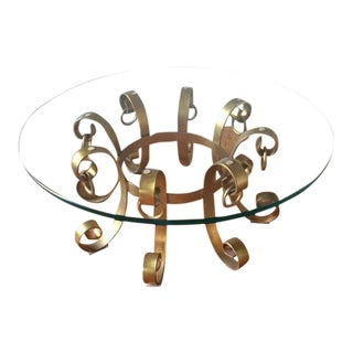On SALE-Hollywood Regency Gilt Iron Coffee Table For Sale
