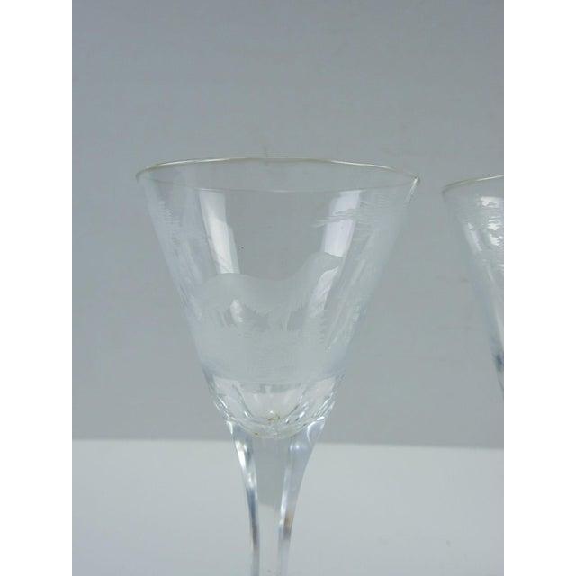 Etched Wildlife Vintage Wine Glasses - Set of 7 For Sale - Image 4 of 7
