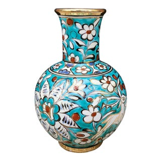 Vintage Greek Turquoise and Gold Hand Painted Pottery Vase For Sale