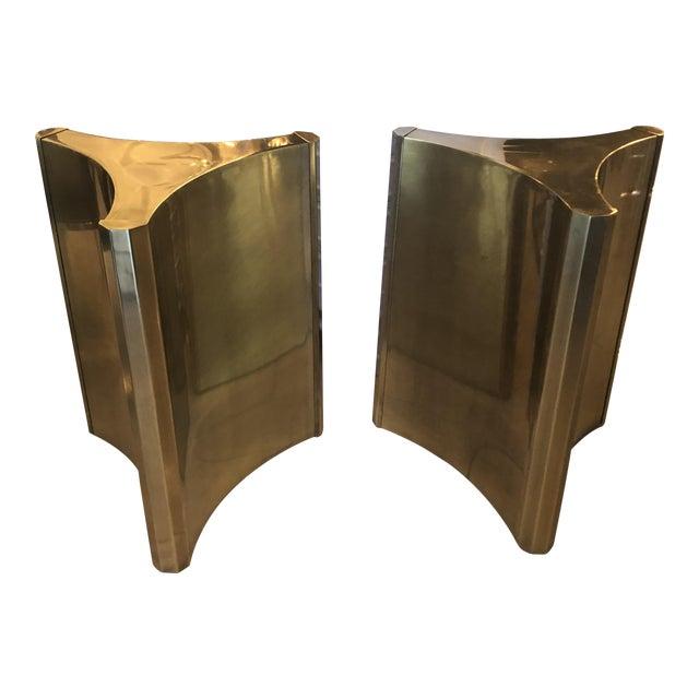 Vintage Brass Pedestal Mastercraft Dining Table or Desk Base -A Pair For Sale
