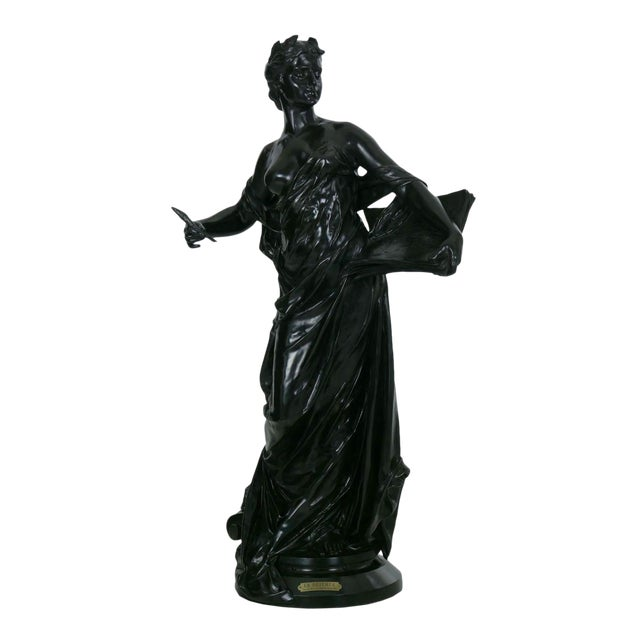 """Antique French Bronze Sculpture """"Science"""" by Edouard Drouot"""" For Sale"""
