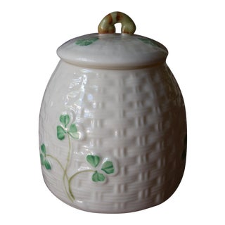 Belleek Basket Weave Jam Jar For Sale