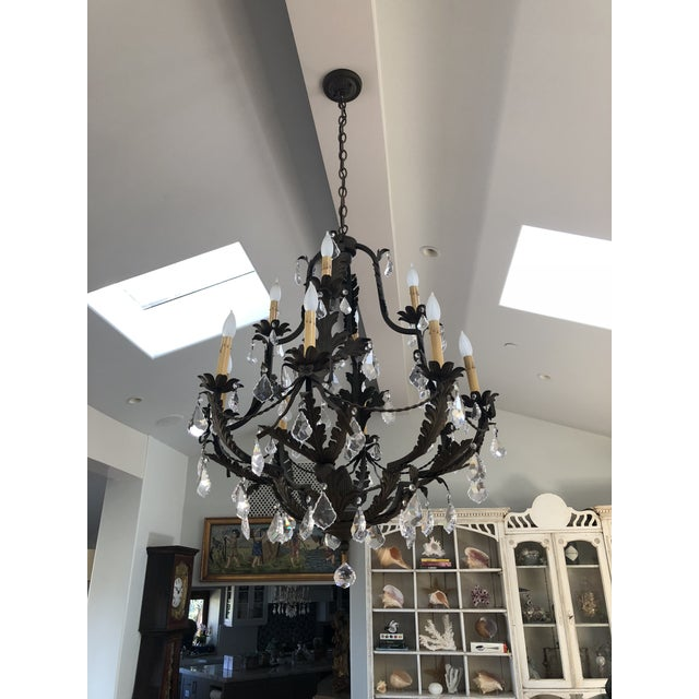 Art Deco Rustic Black Iron and Crystal 12 Arm Chandelier For Sale - Image 3 of 6