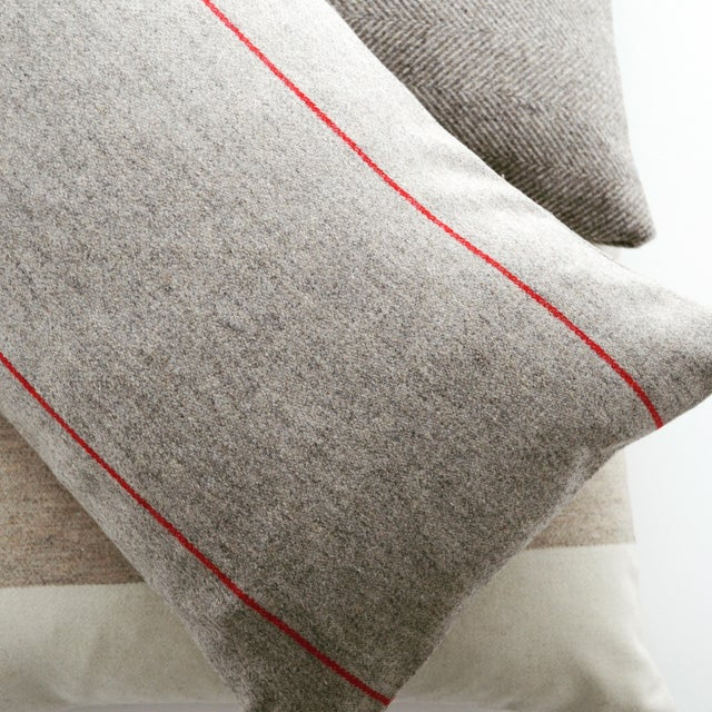 2010s FirmaMenta Italian Red Striped Sustainable Wool Lumbar Pillow For Sale - Image 5 of 6