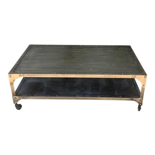 1990s Industrial Metal Coffee Table For Sale
