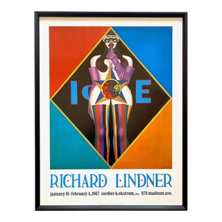"Richard Lindner Vintage 1967 Mid Century Modern Lithograph Print Framed Pop Art Exhibition Poster "" Ice "" 1966 For Sale"